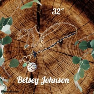 BETSEY JOHNSON Flower Sphere and Charm Necklace
